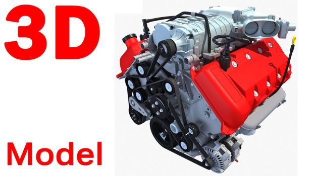 3D Models - Car Engine 3D Model by Gandoza