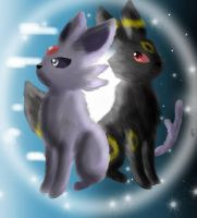 Espeon and Umbreon by Ktchelle
