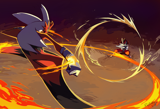 Bisharp VS Blaziken by RubyFeather