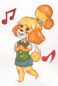 Cheerful Isabelle Watercolor by DirenKei