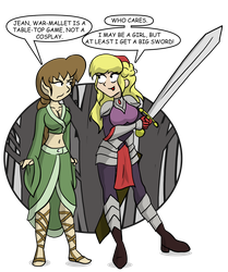Natalie and Jean Play War-Mallet by CDRudd