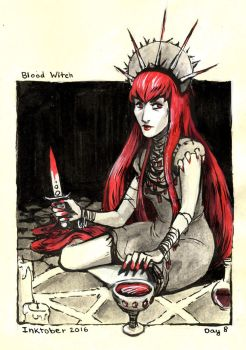 Blood Witch - Inktober Day 8 by stasiaarts