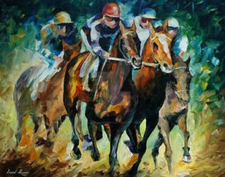 Horse Racing by Leonid Afremov by Leonidafremov