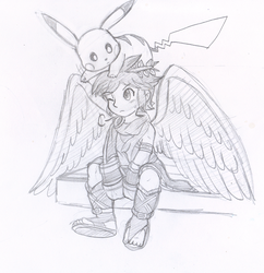Commish: Dark Pit and Pikachu by Nintendrawer