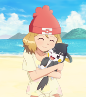 Commission: Alola Serena Hugging Emolga