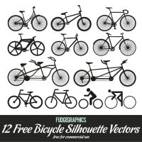 12 Bicycle Silhouette Vectors by fudgegraphics