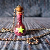 Star Jar Necklace Pink Black by wickedland