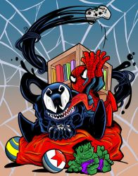 Venom and Spidey Chibies by joriley