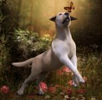 Vitality - Dog with Butterfly by LillithI