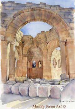 St Simeon Syria - watercolour by MaddySwan