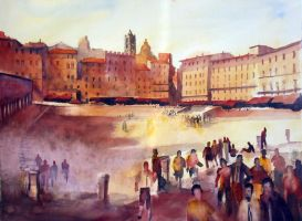 In Piazza del Campo a Siena by andreuccettiart