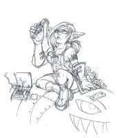 Pinup BB at work -sketch- by bloodwise