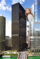 Sophie Turner -  Peering into skyscrapers by Natkatsz