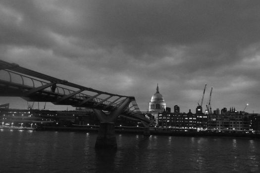St Pauls And The Millennium Bridge In Mono by fineartbyandrewdavid