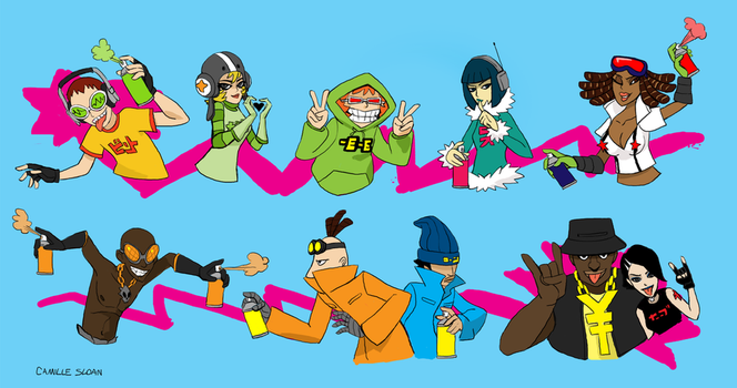 Jet Set Radio Characters by Camb0t