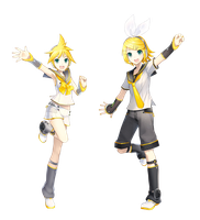 Kagamine and Kagamine by Reika-swap
