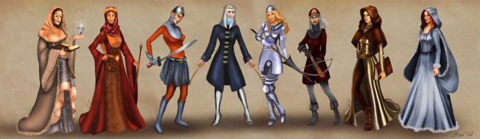 Female Heroes of Castle in full outfits by BasakTinli