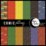 Comics patterns digital papers inspired on supers by AveholicD