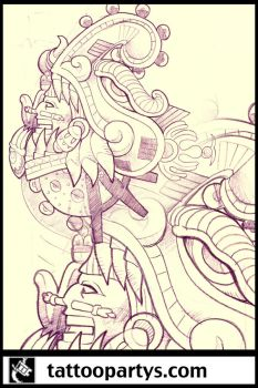 quetzalcoatl tattoo sleeve by dacreativegenius