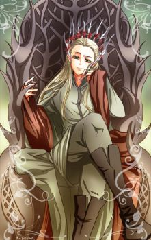 Thranduil at throne by M-azuma