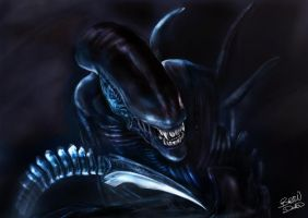 Alien  HR Giger Xenomorph Tribute by l3raindead