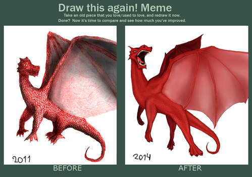 Draw this again - Red dragon by ElQwerty