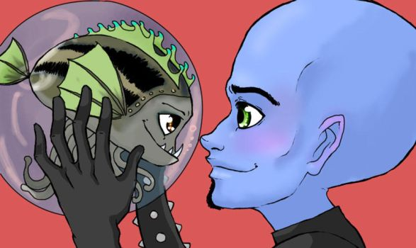 Megamind and Minion by queen-zombie
