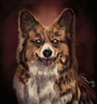 Halloween Style Watercolor Zombie Dog portrait by Catifornia