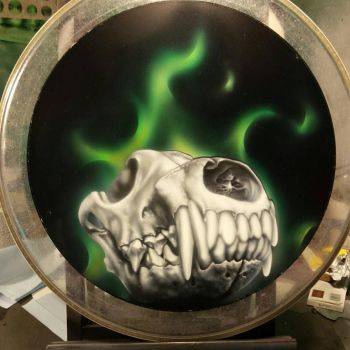 Animal skull on a drum head by spasticfool