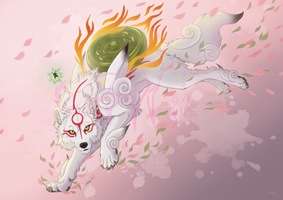 Okami Amaterasu + VIDEO by EmberWolfsArt
