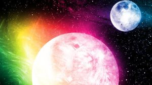 Rainbow Flare--Planet and Moon by Holly6669666