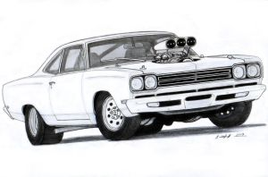1969 Plymouth Roadrunner Drawing by Vertualissimo