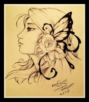 Tattoo design: lady butterfly with roses by Baby-Goat
