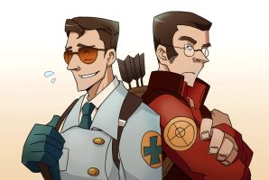 TF2 medic and sniper by biggreenpepper