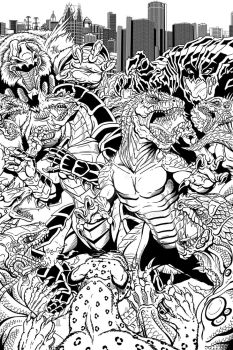 Rough Crossover Cover Inks by kaijuverse