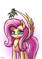 Fluttershy and mistletoe by SkorpionLetun