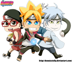 Chibi Boruto Sarada and Mitsuki by DennisStelly