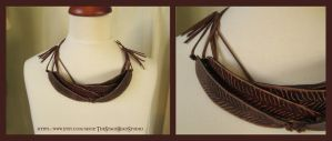 Leather New Zealand Fantail Feather Necklace by ImogenSmid