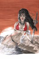 Beached Wonder Woman by me eBas in copic by ebas