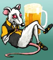 Rat bowler with beer by charlando