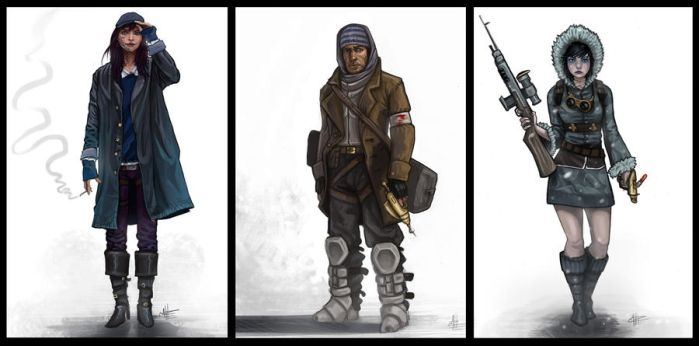 Rough Sci-Fi Character Line up by JailHouseRock2