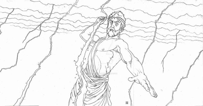 Zeus in a Lightning Storm by Jason-Lenox