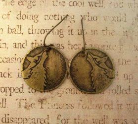 Tribal Howling Wolf Brass Earrings by FusedElegance