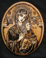 Our Lady of Perpetual Help - Pyrography by Theophilia
