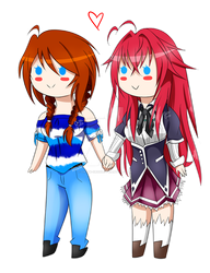 Rias and Orion Chibi by Orion-Cross