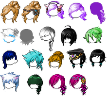 Batch of Mixed hairs by InspirationalMonster
