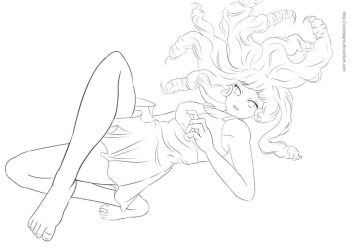 Girl-lineart by ConejoGris