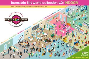 Isometric flat world collection v.2 by Roundicons