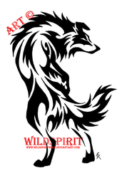 Tribal Border Collie Tattoo by WildSpiritWolf