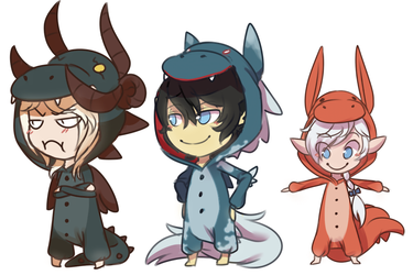 my elezen bbies ft. kigurumis by ChibiForte101